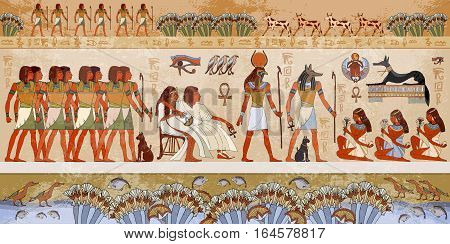 Egyptian gods and pharaohs. Ancient Egypt scene mythology. Hieroglyphic carvings on the exterior walls of an ancient temple. Murals ancient Egypt.