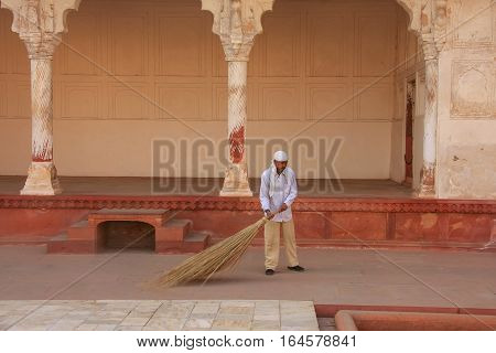 Agra, India - January 29: Unidentified Man Sweeps In Anguri Bagh (grape Garden)  In Agra Fort On Jan