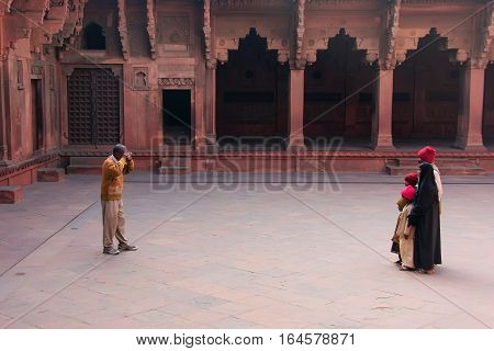 Agra, India - January 29: Unidentified People Visit Jahangiri Mahal In Agra Fort On January 29, 2011