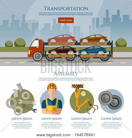 Assembly and transportation of cars. Production and sale of cars banner car assembly process vector illustration