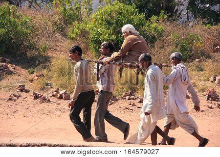 Ranthambore, India - February 2: Unidentified Men Carry Unidentified Woman On February 2, 2011 In Ra