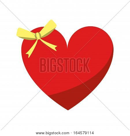 cute love heart passion with bow vector illustration eps 10