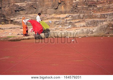 Ranthambore, India - February 2: Unidentified People Stand By The Red Lake At Ranthambore Fort On Fe
