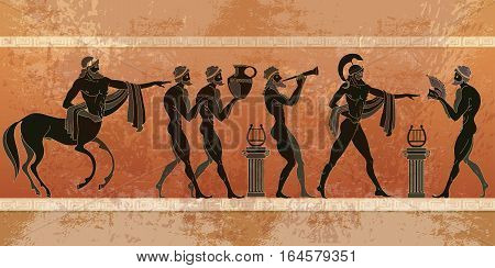 Ancient Greece scene. Black figure pottery. Ancient Greek mythology. Centaur people gods. Classical Ancient Greek style