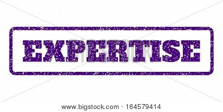 Indigo Blue rubber seal stamp with Expertise text. Vector message inside rounded rectangular banner. Grunge design and dust texture for watermark labels. Horisontal sign on a white background.