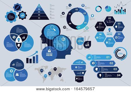 infographic set blue color scheme business graph arrow elements chart visualization illustration
