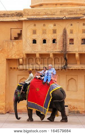Amber, India - March 1: Unidentified People Ride Decorated Elephants In Jaleb Chowk (main Courtyard)
