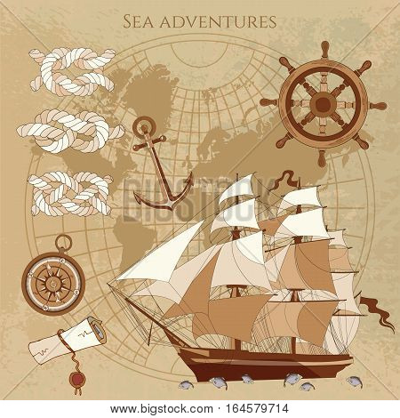 Old pirate map. Sailing ship old compass anchor pirate treasure. Adventure stories background. Nautical vintage map vector illustration