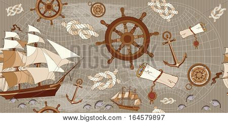Old map seamless pattern adventure stories concept. Vintage compass sailboat anchor ancient map of the world seamless background