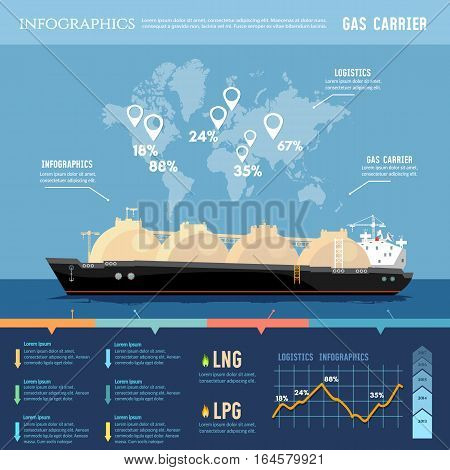Oil and gas industry infographics. LNG tanker natural gas. Carrier ship LNG transportation by sea.