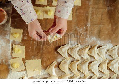 Making Of Pierogi With Potato Vareniki. Russian Food . Rustic
