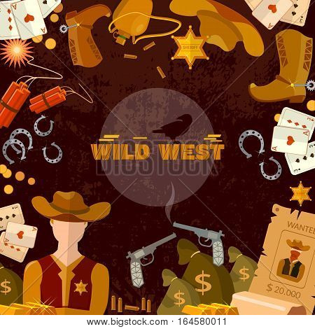 Wild West background. Cowboy sheriff guns money. Western accessories concept.