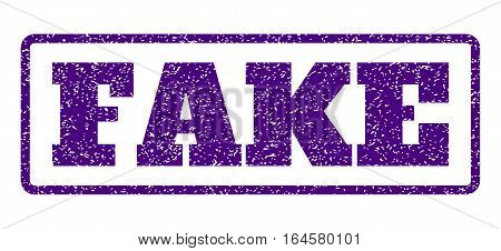 Indigo Blue rubber seal stamp with Fake text. Vector message inside rounded rectangular shape. Grunge design and unclean texture for watermark labels. Horisontal sign on a white background.