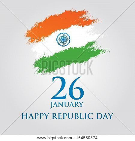 India Republic Day greeting card design vector illustration. 26 January - Republic day of India.