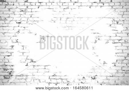 Brick wall with stained whitewash background with space for your message.