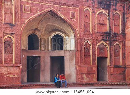 Agra, India - November 7: Courtyard Of Jahangiri Mahal In Agra Fort On November 7, 2014 In Agra, Ind