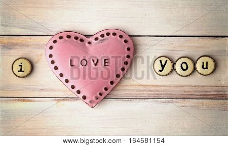 Love Happy Valentines Day Concept. Love  on Vintage Woden Background. Love