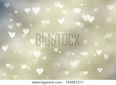 Defocused lights background. Heart bokeh. Bright colorful heart bokeh background. Multicolored blurry hearts on a green background. Valentines Day illustration