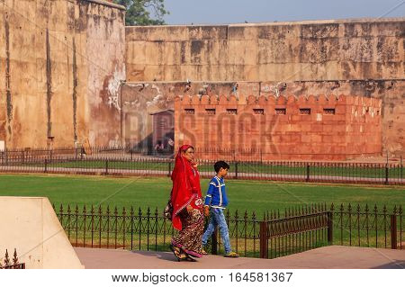 Agra, India - November 7: Unidentified People Walk In Agra Fort On November 7, 2014 In Agra, India.