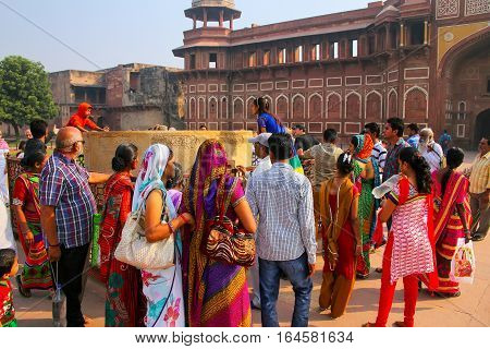 Agra, India - November 7: Unidentified People Stand Outside Jahangiri Mahal In Agra Fort On November