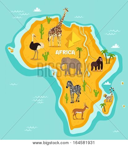 African animals wildlife vector illustration. African fauna, ostrich, giraffe, elephant, monkey, zebra, lemur, antelope in cartoon style. African continent in blue ocean with wild animals and plants
