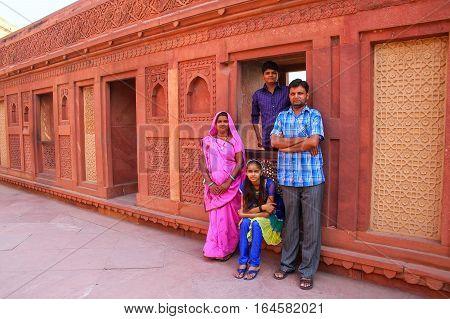Agra, India - November 7: Unidentified People Visit Jahangiri Mahal In Agra Fort On November 7, 2014