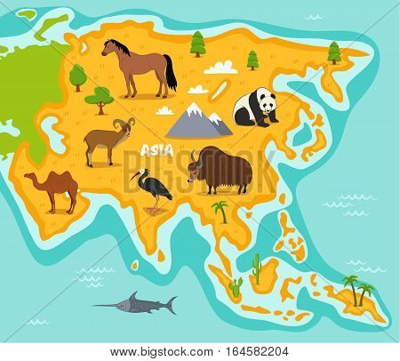 Asian map with wildlife animals vector illustration. Asian flora and fauna, horse, panda, yak, camel, ibis, urial in cartoon style. Asian continent in ocean with wild animals, mountains and plants