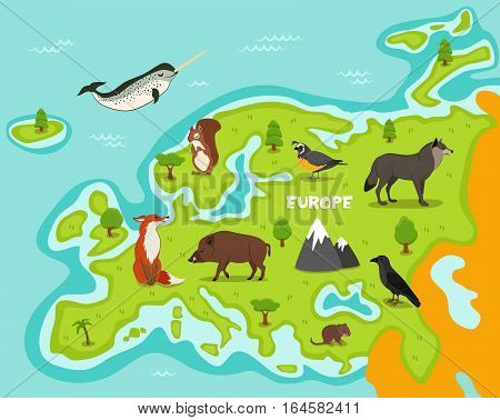 European map with wildlife animals vector illustration. European flora and fauna, squirrel, wolf, crow, fox, wild boar, vole, quail in cartoon style. European continent in blue ocean with wild animals. Cartoon animals collection. Different animals for zoo