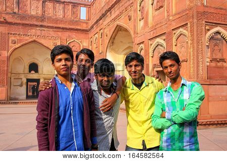 Agra, India - November 7: Unidentified Men Stand In Jahangiri Mahal In Agra Fort On November 7, 2014