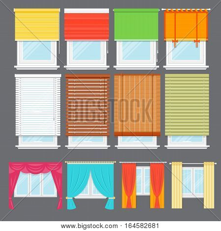 Detailed window set isolated vector. Architectural details, window treatments, interior elements. Window with colorful curtains, jalousie, drapery, shades, blinds collection in flat style. Window icon set. Cartoon window collection. Blinds icon set