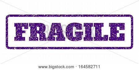 Indigo Blue rubber seal stamp with Fragile text. Vector message inside rounded rectangular frame. Grunge design and unclean texture for watermark labels. Horisontal sticker on a white background.