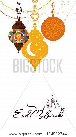 Eid Mubarak greeting card vector illustration. Muslim festival poster design, islamic holiday template with arabic lamp, mosque, hand drawn calligraphy lettering. Eid Mubarak traditional holy holiday. Template of Eid Mubarak invintation.