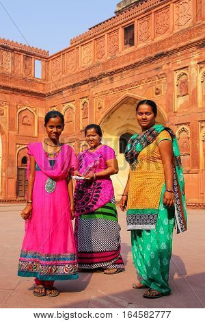 Agra, India - November 7: Unidentified Women Stand In Jahangiri Mahal In Agra Fort On November 7, 20
