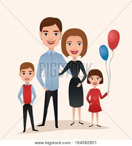Happy family couple with children isolated vector illustration. Husband, wife, daughter and son cartoon characters. Smiling young people portrait, big happy family with kids standing together. Happy family cartoon illustration. Funny happy family.