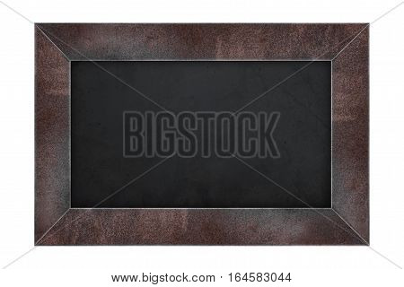 Rusty steel frame black board, isolated on white backgrounds