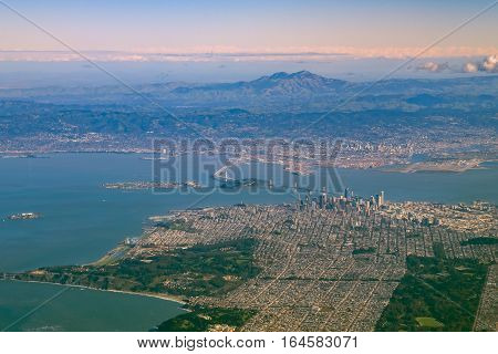 Aerial View Of San Francisco Downtown Cityscape