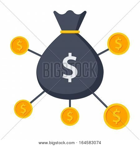 Crowdfunding vector illustration, funding project by raising monetary contributions from crowd of people