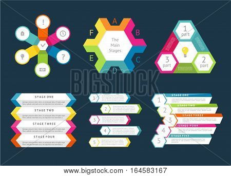 Business infographics set vector illustration. Chart, financial diagram, graph, report, stage elements. Modern infographics for website, corporate report, presentation. Infographics elements set. Abstract infographics design. Lights infographics bundle.