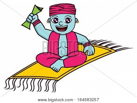 Genie with Magic Carpet and Money Cartoon. Vector Illustration.
