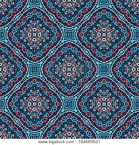 Seamless pattern. Weave background. Flourish ornament vector. Intricate luxury decoration. Blue illustration. Decorative fabric print, furniture textile, wallpaper, pillow. Interior design element