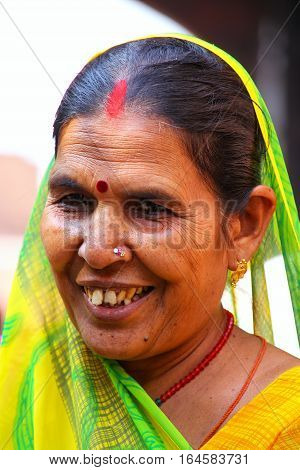 Agra, India - November 7: Unidentified Woman (portrait) Visits Agra Fort On November 7, 2014 In Agra