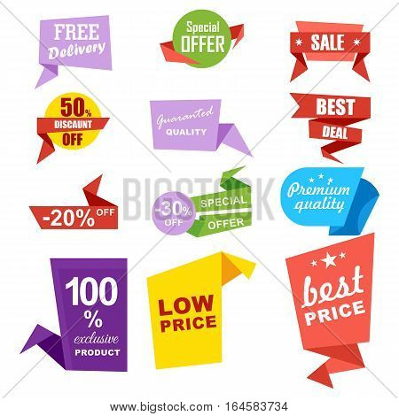 Discount sale ribbon banner set isolated vector illustration. Best price tag, special offer discount, low price, retail advertisement, best deal, premium quality symbol. Flat graphic style sale labels. Sale badge set. Sale icon.