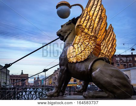 Griffins On The Bank Bridge In St Petersburg