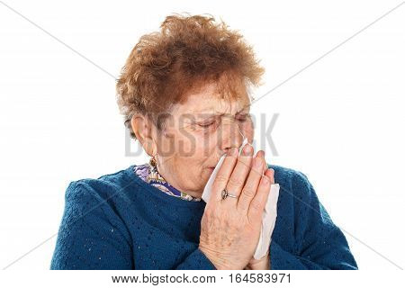 Picture of an elderly woman having a flu - isolated background