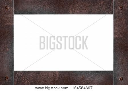 Rusty steel frame, isolated on white background