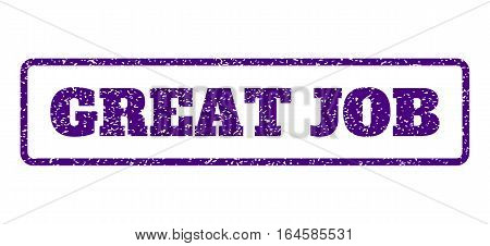 Indigo Blue rubber seal stamp with Great Job text. Vector message inside rounded rectangular shape. Grunge design and dirty texture for watermark labels. Horisontal emblem on a white background.