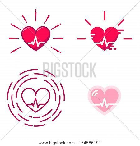 Blood Pressure Vector Icons. Good Health Logo. Heart Cheering Cardiogram. Healthy Pulse Flat Symbol. Medical Pulsometer Element. Heartbeat Label Hospital Equipment Concept Design Isolated on White Sign