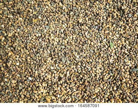 Many gravel on the ground background texture