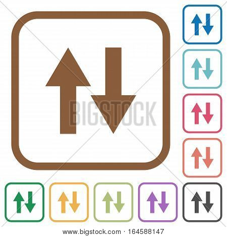 Data traffic simple icons in color rounded square frames on white background