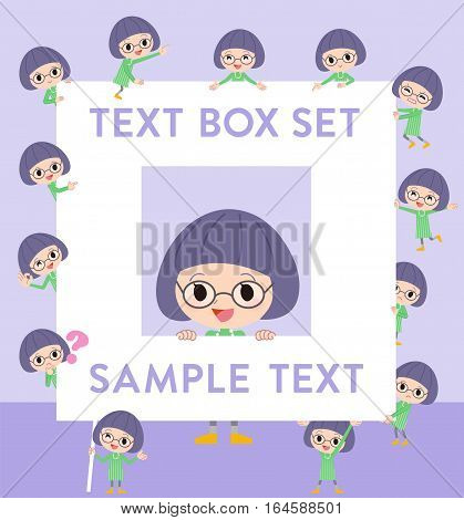 Green Clothes Bobbed Glasses Girl Text Box